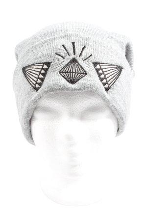 H&M Divided Gorro gris claro-negro punto trenzado look casual