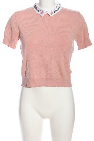 H&M Divided Blusenkragen pink Schriftzug gedruckt Casual-Look