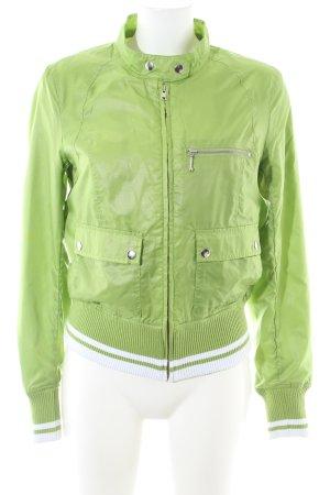 H&M Divided Bomberjacke grün-weiß Streifenmuster Casual-Look