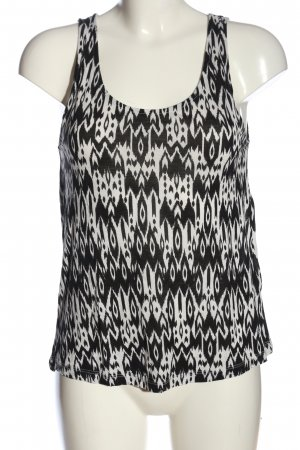 H&M Divided Camisole schwarz-weiß abstraktes Muster Casual-Look
