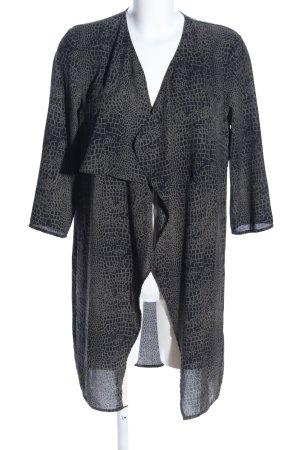 H&M Divided Cardigan schwarz-hellgrau Animalmuster Casual-Look