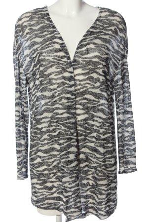 H&M Divided Kardigan czarny-kremowy Abstrakcyjny wzór W stylu casual