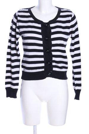 H&M Divided Kardigan czarny-biały Wzór w paski W stylu casual