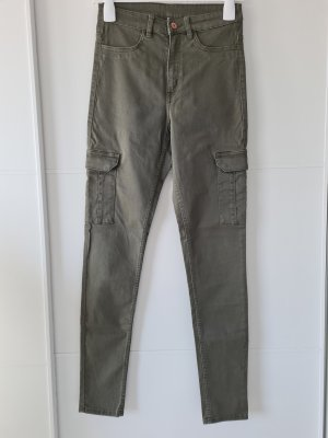 H&M Hoge taille broek groen-grijs-khaki