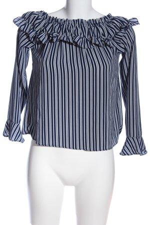 H&M Divided Carmen-Bluse blau-weiß Streifenmuster Casual-Look