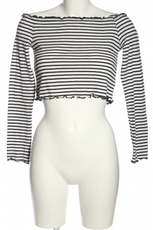 H&M Divided Carmen Blouse white-black striped pattern casual look
