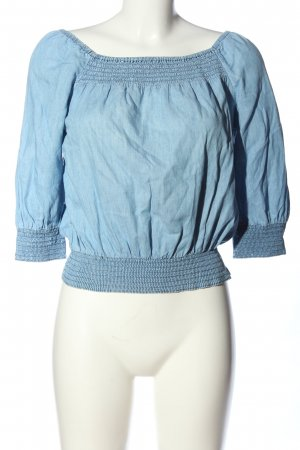 H&M Divided Carmen-Bluse blau meliert Casual-Look