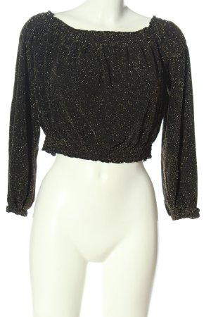H&M Divided Blusa tipo Carmen negro-color oro elegante