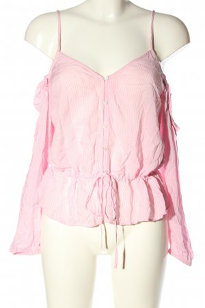 H&M Divided Carmen-Bluse pink-wollweiß Allover-Druck Casual-Look