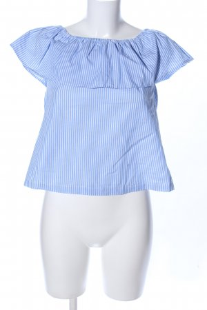 H&M Divided Blouse Carmen bleu-blanc motif rayé style décontracté
