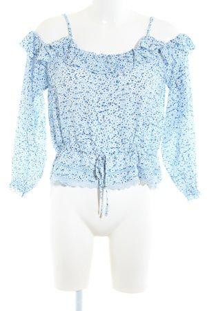 H&M Divided Carmen shirt blauw-wit bloemenprint casual uitstraling