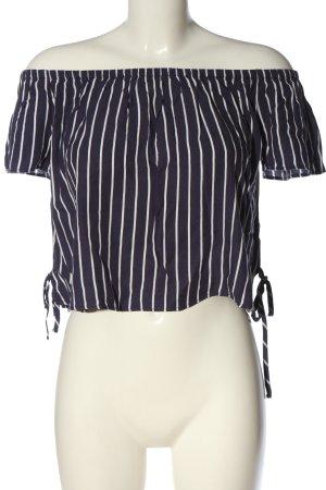 H&M Divided Carmenshirt blau-weiß Streifenmuster Casual-Look