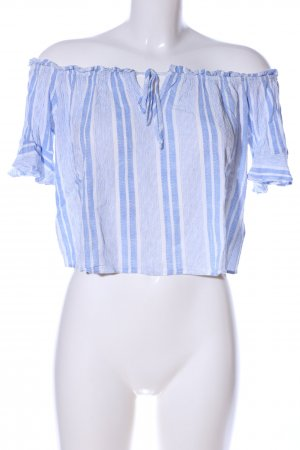 H&M Divided Carmenshirt blau-weiß Streifenmuster Party-Look
