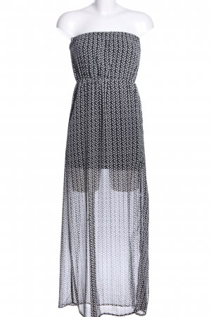 H&M Divided Chiffonkleid schwarz-hellgrau abstraktes Muster Casual-Look