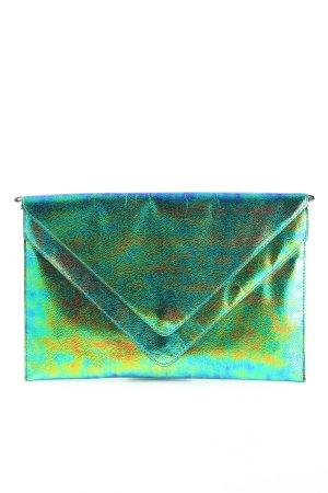 H&M Divided Clutch blau-grün Farbverlauf Glanz-Optik