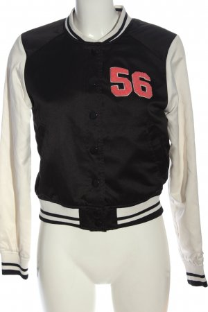 H&M Divided College Jacket black-white printed lettering casual look