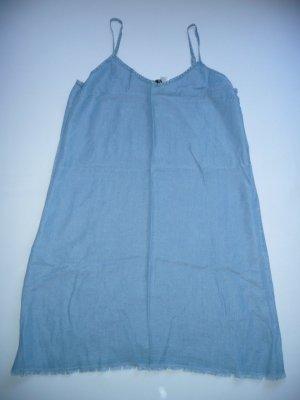 H&M Divided Conscious Träger Kleid hellblau m Fransensaum 100% Lyocell Gr 42