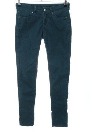 H&M Divided Pantalon en velours côtelé bleu style décontracté