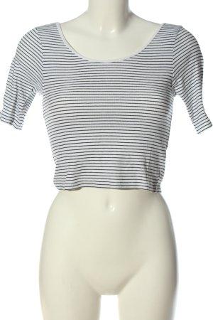 H&M Divided Cropped Shirt weiß-schwarz Allover-Druck Casual-Look