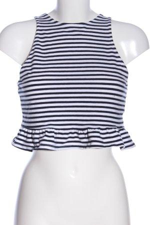 H&M Divided Cropped Shirt schwarz-weiß Streifenmuster Casual-Look