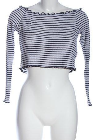 H&M Divided Rippshirt weiß-schwarz Streifenmuster Casual-Look