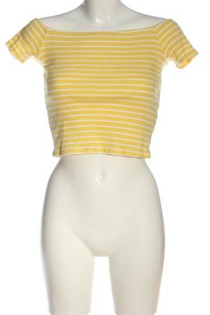 H&M Divided Cropped Shirt blassgelb-weiß Streifenmuster Casual-Look