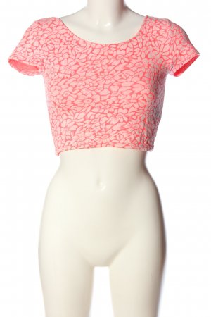 H&M Divided Cropped Shirt pink-weiß Allover-Druck Casual-Look