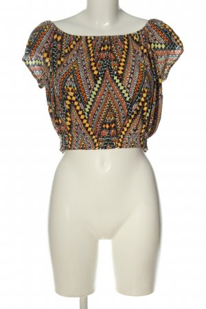 H&M Divided Cropped Shirt schwarz-hellorange abstraktes Muster Casual-Look