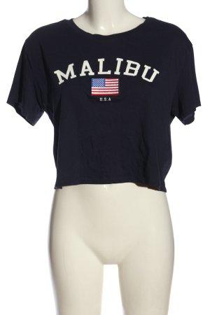H&M Divided Cropped Shirt blau Schriftzug gedruckt Casual-Look