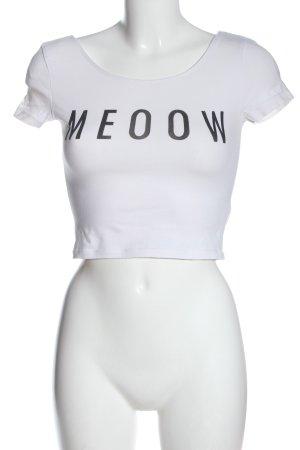 H&M Divided Cropped Shirt weiß Schriftzug gedruckt Casual-Look