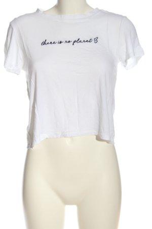 H&M Divided Cropped Shirt weiß-schwarz Schriftzug gestickt Casual-Look