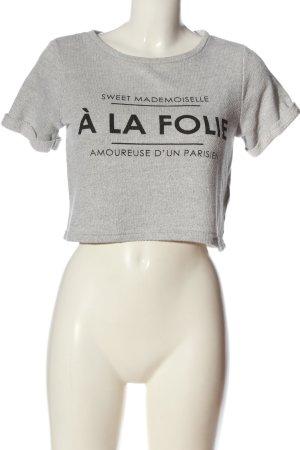 H&M Divided Koszula o skróconym kroju jasnoszary-czarny Wydrukowane logo