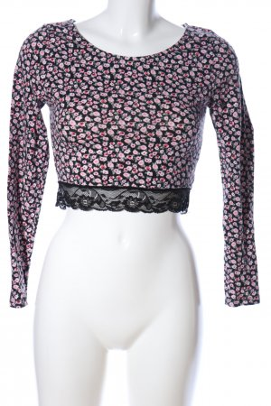 H&M Divided Cropped Shirt black-red allover print casual look
