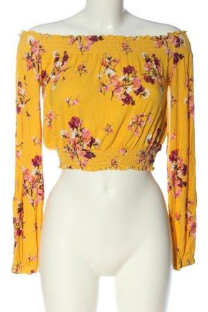 H&M Divided Cropped Shirt blassgelb Blumenmuster Casual-Look