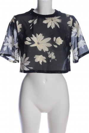 H&M Divided Cropped Shirt blue-natural white allover print casual look