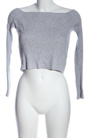 H&M Divided T-shirt court gris clair motif rayé style décontracté