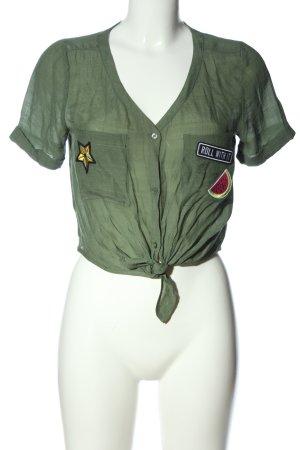H&M Divided Cropped Shirt khaki Motivdruck Casual-Look