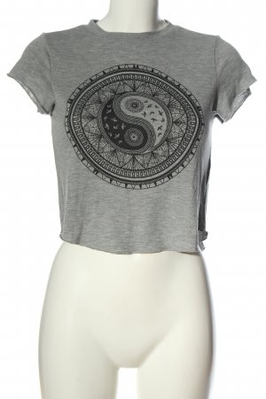 H&M Divided Koszula o skróconym kroju jasnoszary-czarny Melanżowy