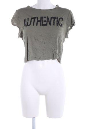 H&M Divided Cropped Shirt khaki Schriftzug gedruckt Casual-Look