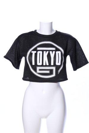 H&M Divided Cropped Shirt schwarz-weiß Schriftzug gedruckt Casual-Look