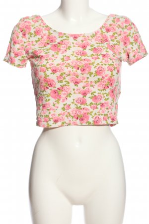 H&M Divided Camicia cropped bianco-rosa stampa integrale stile casual