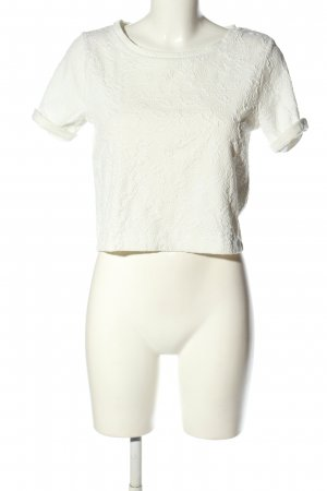 H&M Divided Cropped Shirt wollweiß Allover-Druck Casual-Look
