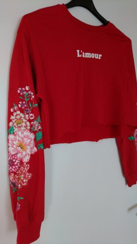 H&M Divided Cropped Sweatshirt mit Blumen Applikation