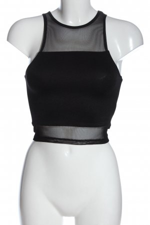 H&M Divided Cropped Top schwarz meliert Casual-Look