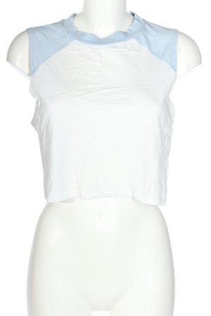 H&M Divided Cropped Top weiß-blau Casual-Look