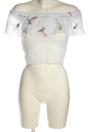 H&M Divided Top o skróconym kroju biały-zielony Wzór w kwiaty W stylu casual