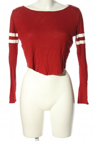 H&M Divided Cropped Top rot-weiß meliert Casual-Look
