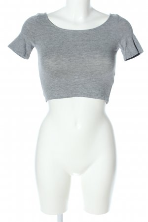 H&M Divided Cropped top lichtgrijs gestippeld casual uitstraling