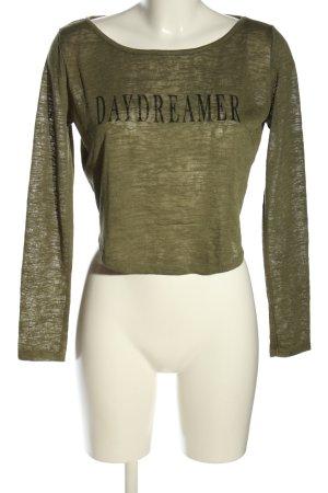 H&M Divided Cropped Top khaki Schriftzug gedruckt Casual-Look