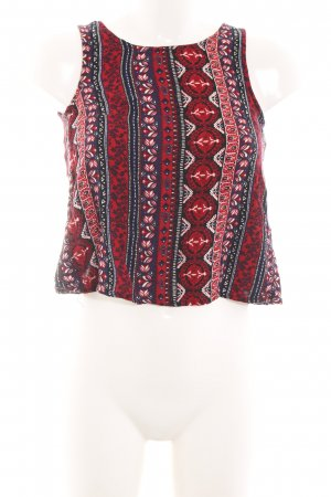 H&M Divided Cropped Top rot abstraktes Muster Casual-Look